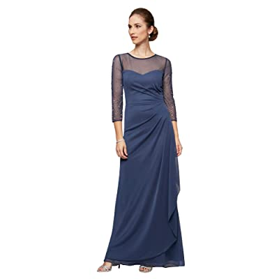 Alex Evenings Long A-Line Dress with Beaded Sleeve (Wedgewood) Women