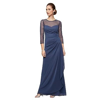 Alex Evenings Long A-Line Dress with Beaded Sleeve (Wedgewood) Women
