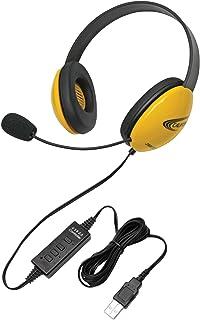 Califone Listening First 2800YL-USB - Auriculares estéreo con micrófono de Cuello de Cisne, Conector USB, Color Amarillo
