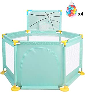 Baby Playpen Tent Fence Foldable Babies Ball Pits Activity Center Safety 6-Panel  with 200 Balls  Green