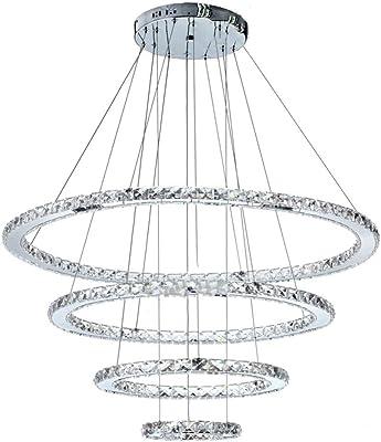 NHX Luces De Techo Creativo Moderno LED De Acero Inoxidable Lámpara De Araña De Cristal Lámpara De Plata para La Sala De Arañas De Techo De Luz 220 V,C-20+40+60+80cm