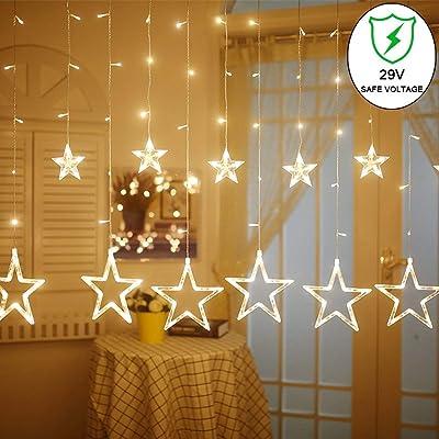 slashome Star Curtain Lights, 8 Modes, 29V, wit...