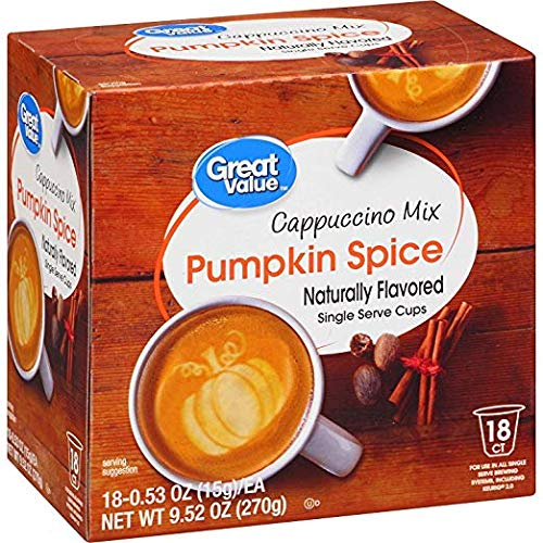 Great Value Pumpkin Spice Cappuccino Mix Naturally Flavored Single Serve Cups (2 Packs)