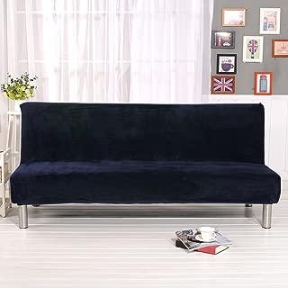 Younar Navy Blue Armless Futon Cover Sofa Bed Cover FullSize ThickerPlushSofaCoverProtectorSofa Slipcover (Navy Blue)