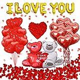 Feynman Juego de Decoración de Globos para el Día de San Valentín Rojo en Forma de Corazón con Forma de Oso Globos de Látex y 1000 Pétalos de Rosa para Bodas Aniversarios y Compromisos Nupciales