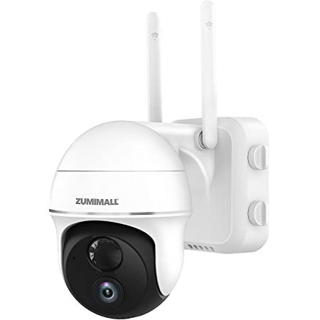 Pan Tilt Security Camera Outdoor with 15000mAh Rechargeable Battery, Zumimall 1080P Wireless WiFi Camera for Home Surveillance with Motion Alert, Night Vision, 2-Way Audio, Waterproof, Cloud/SD Slot