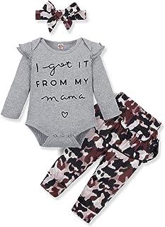 YALLET 3PCS Newborn Baby Girl Clothes Ruffle Floral Shirt Tops Pants Headband Outfit Fall Summer Sets