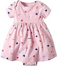 Vestido Niña Ropa Bebé Vestidos Manga Corta Princesa ReciéN Nacida Verano Flor Impreso Traje Forma Corazon Rosado 6-9 Meses