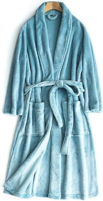 Towelling Bath Robe Flannel Thickened Couple Bathrobe Warm Nightgown Winter Pajamas Wrap Nightwear (color   Sky-bluee, Size   Men Size)
