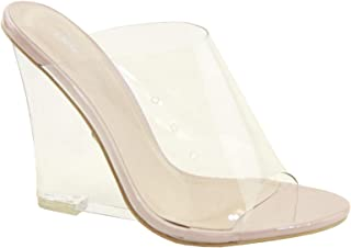 Cape Robbin Women's Sexy Transparent Clear PVC Foot Bed Cotton Candy Wedge Heel Mule
