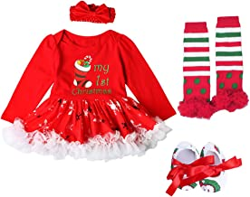 Baby Girls 1st Christmas Outfit Santa Tree Romper Bodysuit Headband Leg Warmer Shoes Tutu Dress Party Costume 4Pcs Set