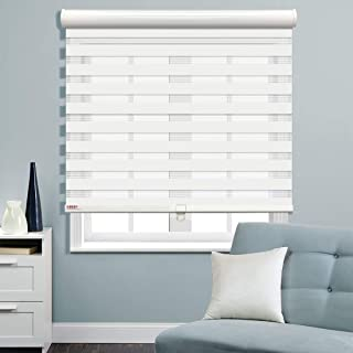 Keego Cordless Window Blinds Free-Stop Zebra Blinds, Horizontal Window Blind Dual Layer Roller Shades Day and Night Curtain Drapes, Sheer or Privacy [Home Series White, 28