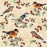 Tovaglioli di carta monouso, Uccelli su Ilex, 20 pezzi 3 strati - 33 x 33