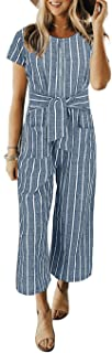 Cosygal Women`s Striped Linen Short Sleeves Wide Leg Palazzo Jumpsuit Romper with Zip Pockets Tie