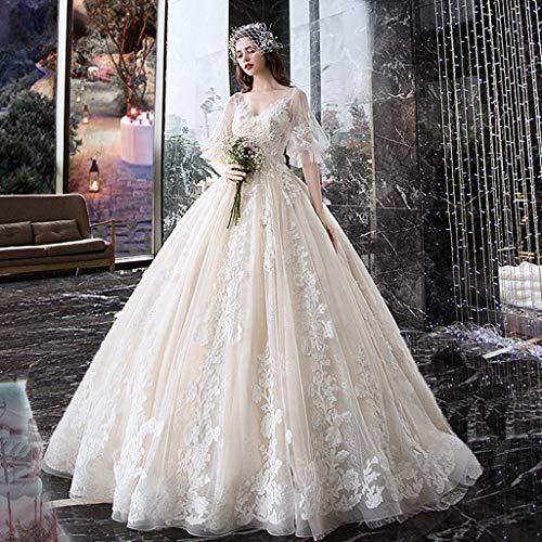 FAPROL Damen Wunderschöne Brautkleider Braut Spitze Applique Tüll Lose Kurzen Ärmeln Abendkleider Prom Dress, Bodenlangen L