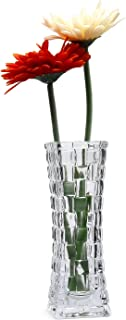 Rachel's Choice Clear Glass Vase Transparent 7 Inch Crystal Rattan Square, Unique Flower Bottle Decorative Floral Vase Modern Design Flower Planter for Home Office Living Restaurant Decoration