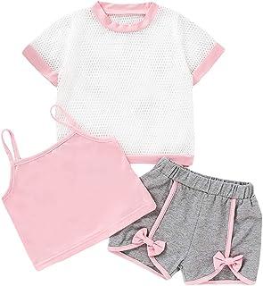 Baby Girl Short Sets Newborn Short Sleeve Shirt+Crop Top+Shorts 3Pcs Outfit Tracksuit Playsuit