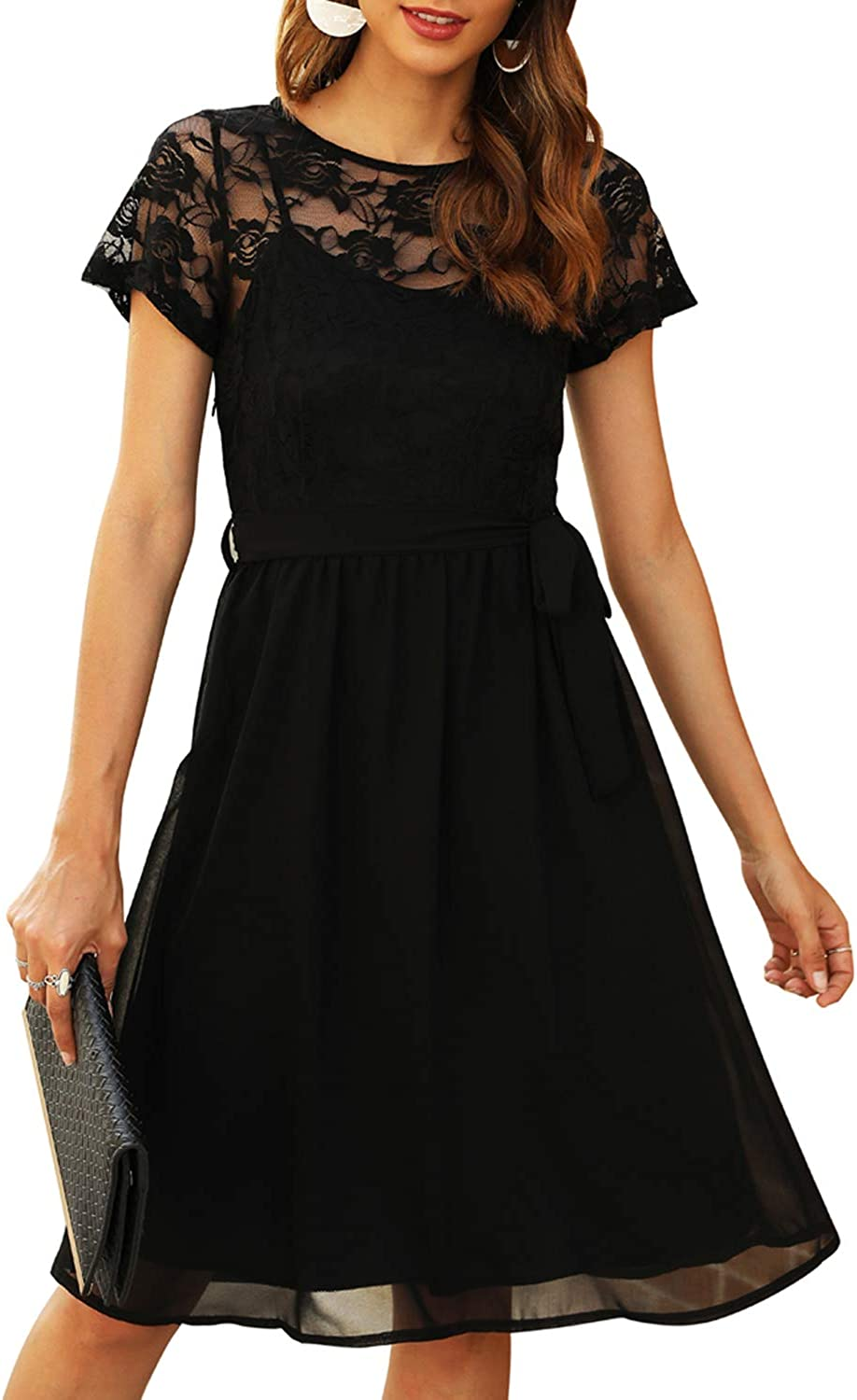 Manydress Women's Scooped Neckline Floral lace Top Cocktail Party Midi Dress MY058
