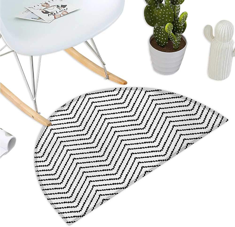 Modern Semicircular Cushion Geometric Triangle Shapes Zig Zag Triggering Lines Minimalist Pattern Print Bathroom Mat H 39.3  xD 59  Black and White