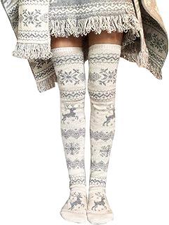 SHOBDW Mujeres Regalo de Navidad Lindo Reno Copo de nieve Muslo Alto Medias largas Tejer sobre calcetines hasta la rodilla Invierno de invierno Gruesa Calcetines de algodón térmico cálido