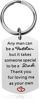 Step Dad Keychain Father's Day Gifts - Step Dad Gifts from Daughter Son, Thank You for Loving Me as Your Own Stepdad Gifts for Christmas Birthday Valentine's Day