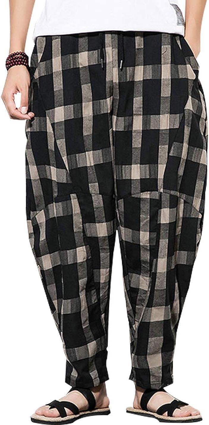 Uaneo Mens Plaid Cotton Casual Elastic Drawstring Waist Tapered Leg Jogger Pant(Black-L)