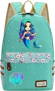 Mermaid Unicorn Flowers Canvas Princess Women Backpack Shoulder Bag GREEN 2
