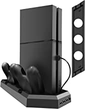 Kootek Vertical Stand for PS4 Slim/Pro/Regular Playstation 4, Controller Charging Station with Cooling Fan Dual Charger Indicator USB Ports for DualShock 4 Wireless Controllers