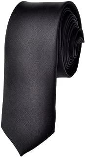 Mens Solid Skinny 2 Inch Costume Black Necktie Tie