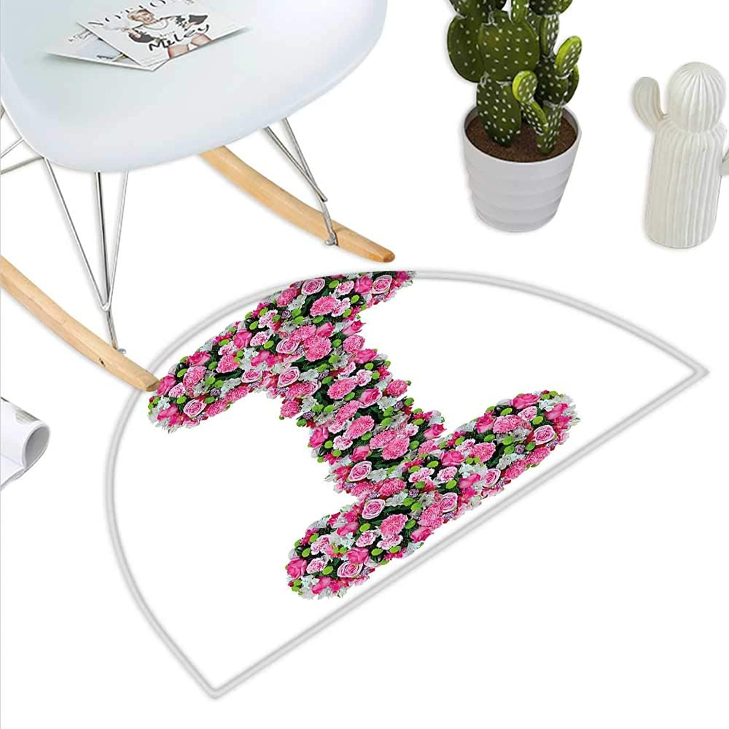 Letter I Semicircle Doormat Initial Letter I with colorful Blooming Bouquet Daisies Realistic Looking Flowers Halfmoon doormats H 27.5  xD 41.3  Pink Green