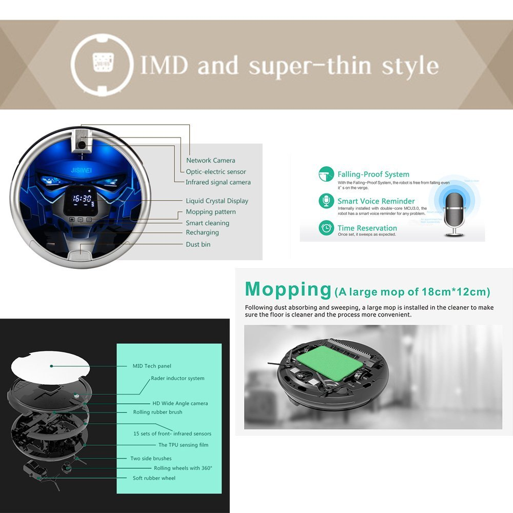 Jisiwei S+ - Robot Aspirador con Cámara 1080P Wifi Infrarrojo,Color Azul: Amazon.es: Bricolaje y herramientas