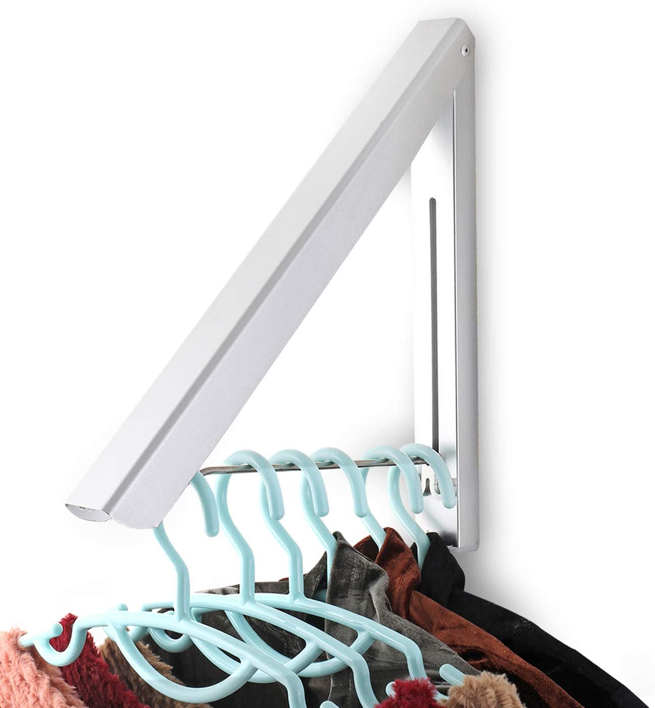 Sweshine Folding Clothes Hanger Wall Max 87% shop OFF Indoor Mounted Outdoor Alum