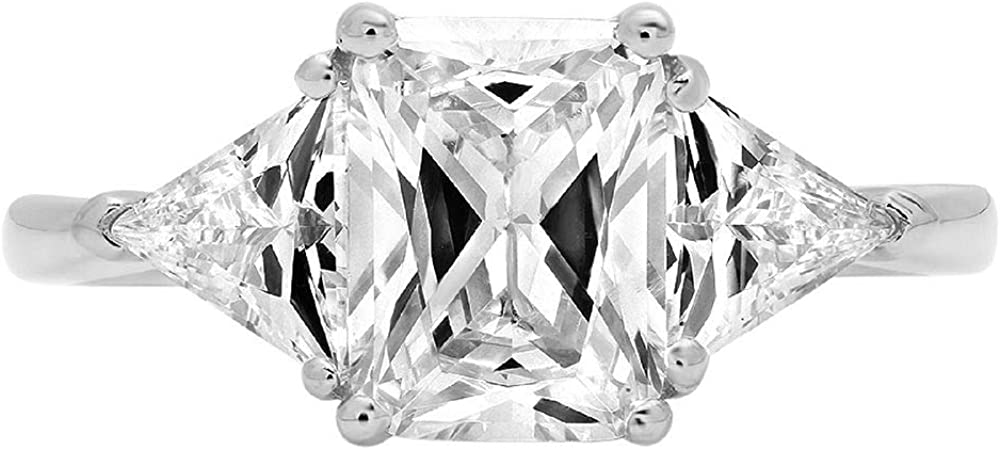 3.0 ct Emerald Trillion cut 3 stone Solitaire with Accent Clear Simulated Diamond Ideal VVS1 Engagement Promise Statement Anniversary Bridal Wedding Ring 14k White Gold
