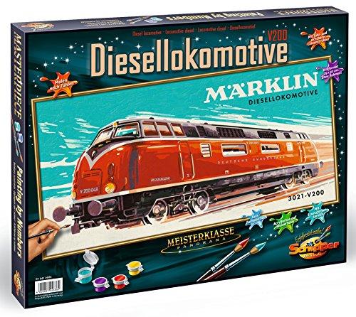 noris Schipper 609410686 - Malen nach Zahlen - Märklin Diesellokomotive 3021 V200, 25 x 50 cm