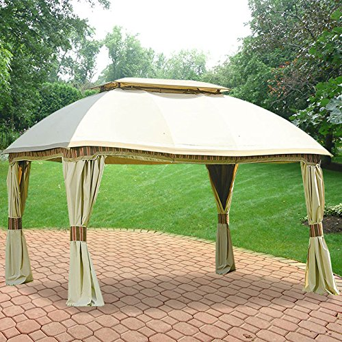 Garden Winds Replacement Canopy for The Sam's Club Domed Gazebo - Riplock 350 - Beige