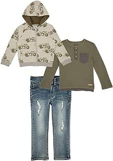Kid Boys' 3-Piece Set Including Denim Pants, Hoodie Jacket and a T Shirt, Moto Print (Green)