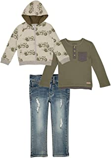 HUDSON Kid Boys' 3-Piece Set Including Denim Pants, Hoodie Jacket and a T Shirt, Moto Print (Green)