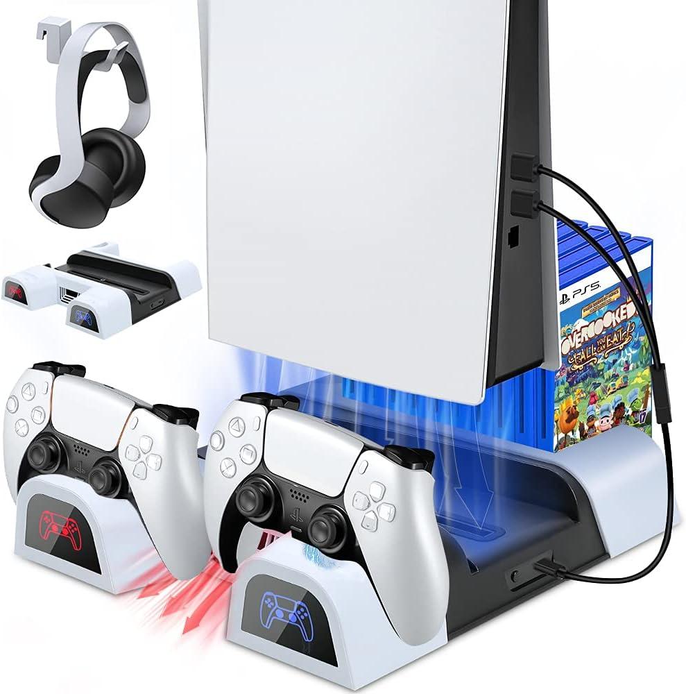 Buluri Soporte Multifuncional PS5 con Ventilador de refrigeración y estación de Carga de Controlador Dual con 10 Ranuras para Juegos, para Consola Playstation 5 y edición Digital