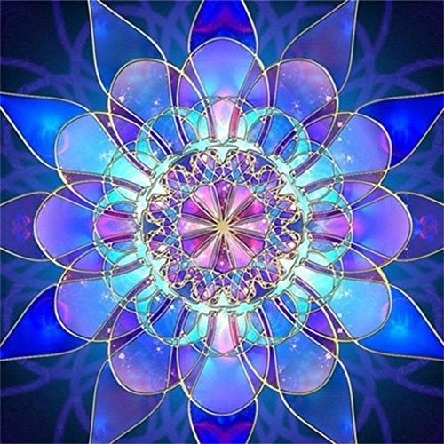 MXJSUA DIY 5D Kits de Pintura de Diamantes Taladro Completo Cristal Redondo Diamantes de imitación Imagen Artesanía para el hogar Decoración de la Pared Regalo Patrón geométrico Azul 30x30 cm
