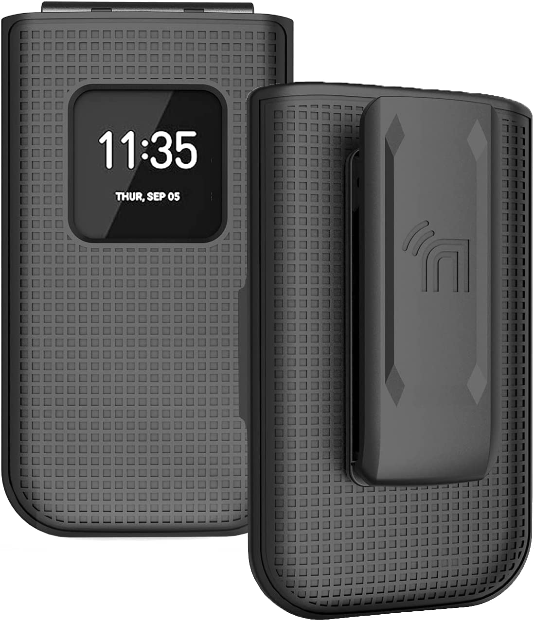 Case with Clip for Nokia 2720 V Flip Phone, Nakedcellphone [Black] Snap-On Hard Shell Cover with [Rotating/Ratchet] Belt Hip Holster Holder for Verizon TA-1295