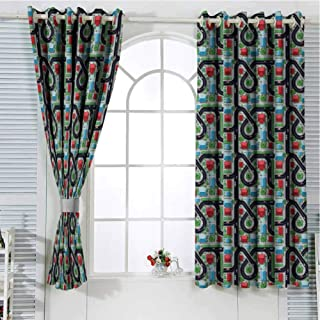 Jinguizi Grommet Window Curtain Window Curtain 2 Panel Kids Car Race Track Roadway Activity,Crossroads Top View in Highway with Houses and Trees,Multicolor soundproof Curtain 55 x 40 inch