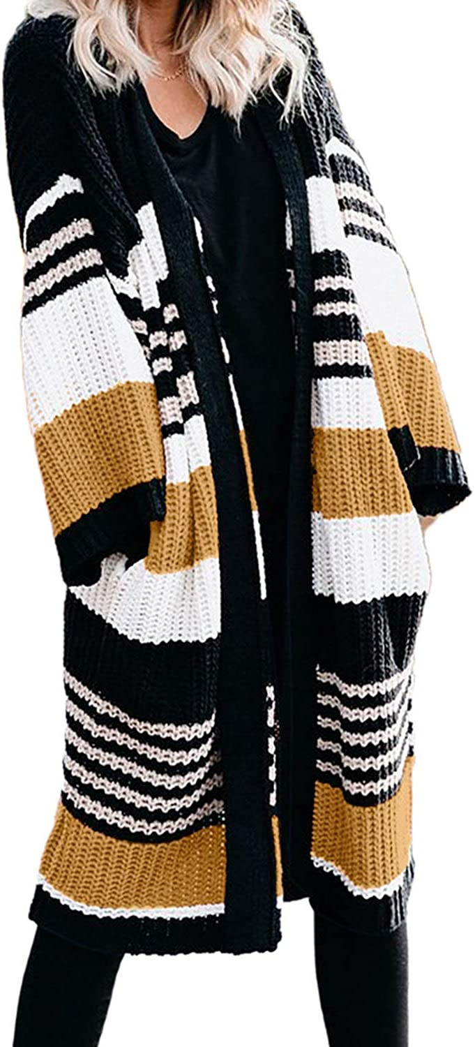 Dokotoo Womens Solid Casual Cozy Knit Open Front Long Cardigan Sweater
