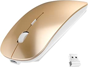 Rechargeable Wireless Mouse, 2.4G Slim Mute Silent Click Noiseless Optical Mouse with USB Receiver Compatible with Noteboo...