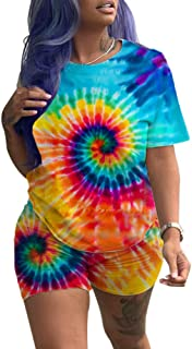 Xibulin Women Casual 2 Piece Outfits Short Sleeve Tie Dye Print T-Shirt Bodycon Short Pants Set Jumpsuit Romper
