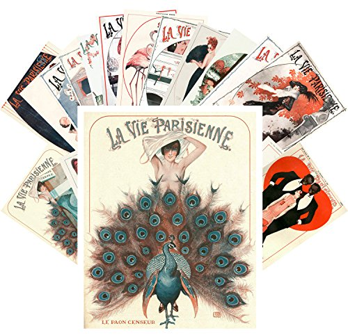 Postcard Set 24 cards Art Deco Sexy Girls La Vie Parisien Vintage Pinup Georges Leonnec