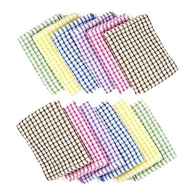 Brinsi 100% Cotton Kitchen towels (12 Pack), Tea Towels, Bar Towels, Machine Washable (6 Colors)