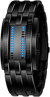 Gets Unisex Binary Watch Unique Led Illuminator Wrist Watches Creative Stainless Steel Sports Watch (Black-7.8 inch,7.8 inch)