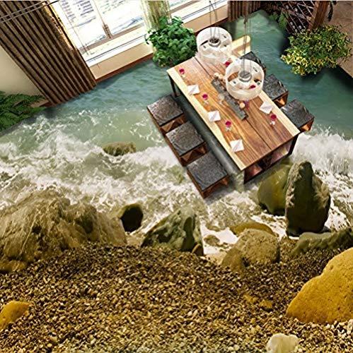 Tapete Strand Sprühstein 3D Wohnzimmer Badezimmerboden Wasserdicht Tragen rutschfeste Schlafzimmer Küche Bodenbelag Tapete Wandbild