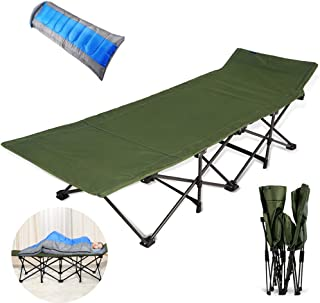 Single Folding Bed Frame,Lunch Break Folding Sheets Outdoor Camping Bed, Military Green + Dream Sleeping Bag Blue,190 * 37 * 50Cm