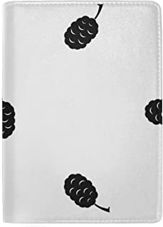 Patterns With Mulberry Fruits Blocking Print Passport Holder Cover Case Travel Luggage Passport Wallet Card Holder Made With Leather For Men Women Kids Family